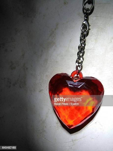Close-Up Of Red Heart Shaped Pendant