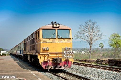 Closeup of Red orange train, Diesel locomotive, on railway stati : Stock Photo
