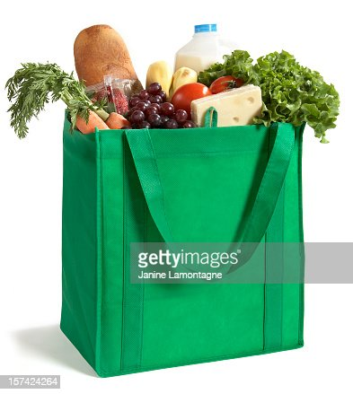 Close-up of reusable grocery bag filled with fresh produce