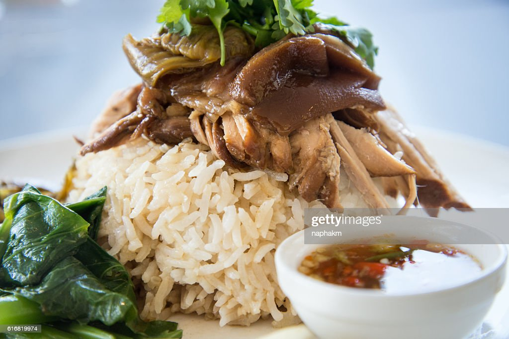 Close-up of Rice With Roasted Pork Gravy On Plate : Stock Photo