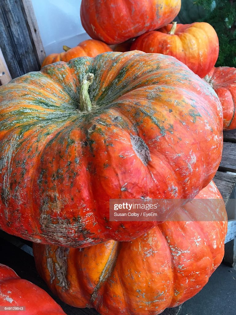 Close-Up Of Ripe Pumpkins For Sale At Farmers Market