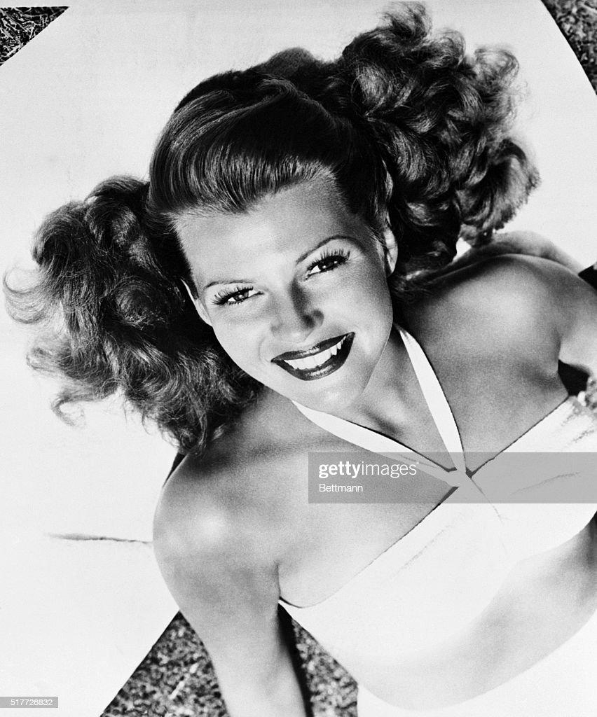 A closeup of Rita Hayworth in the film 'Gilda.' Filed in 1950.