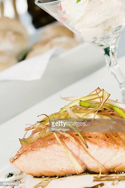Close-up of roasted salmon