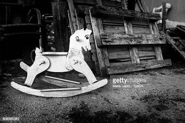 Close-Up Of Rocking Horse On Field