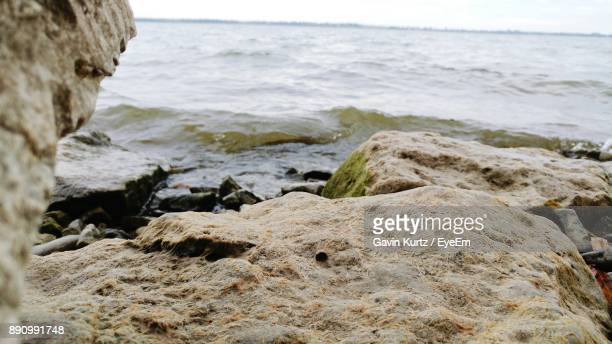 Close-Up Of Rocks In Sea Against Sky