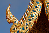 Close-up of roof on Buddhist temple , Thailand