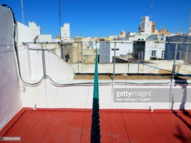 Close-Up Of Rope Against Blue Sky