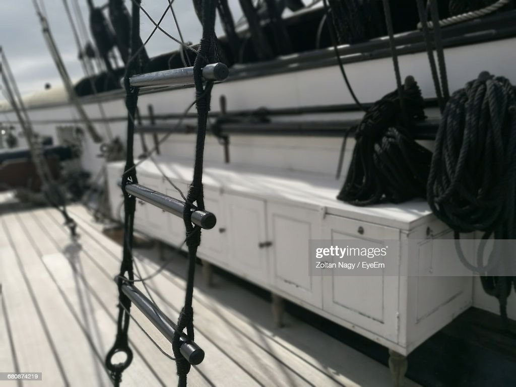 Closeup Of Rope Ladder In Ship Stock Photo | Getty Images for Rope Ladder Ship  585eri