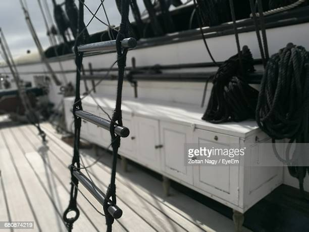 Close-Up Of Rope Ladder In Ship