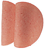 close-up of round slices of ham