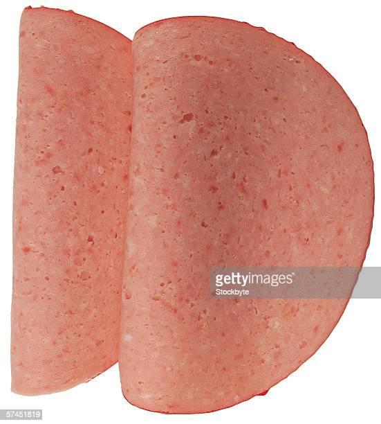 close-up of round slices of ham