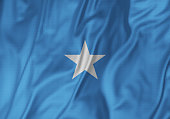 Closeup of Ruffled Somalia Flag, Somalia Flag Blowing in Wind