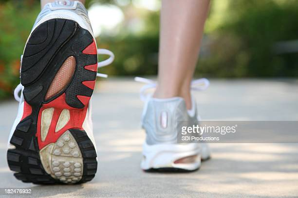 Closeup of Running Shoes in Use