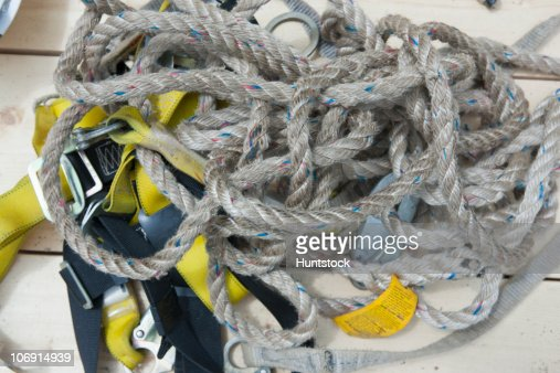 Close-up of safety rope with harness at a construction site : Stock-Foto