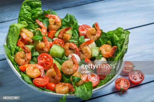 Closeup of salad with vegetables and shrimp : Stock Photo