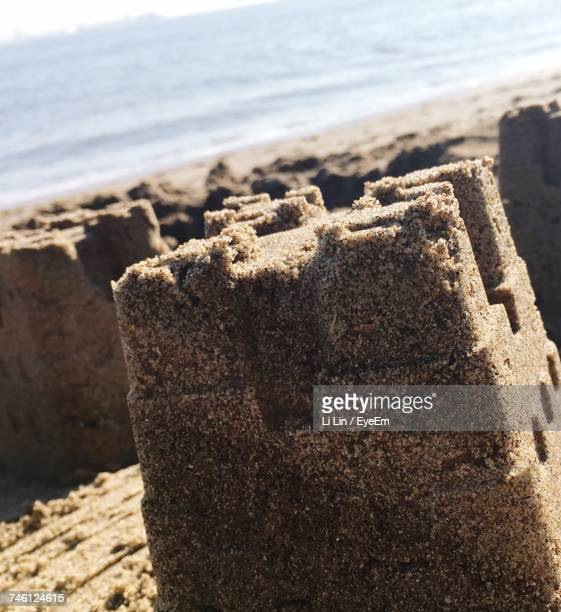 Close-Up Of Sandcastle On Beach
