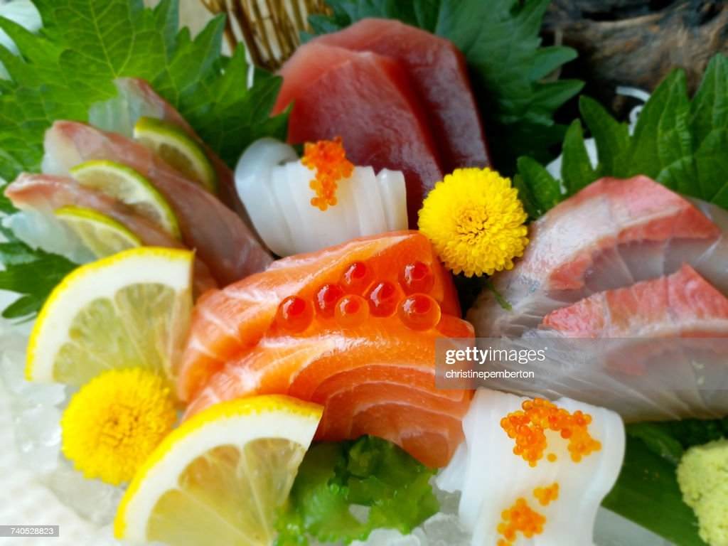 Close-up of sashimi : ストックフォト