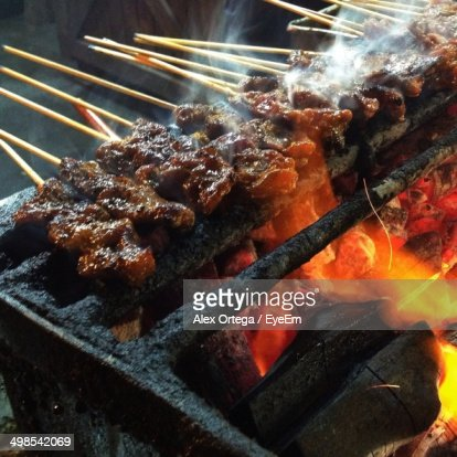 Close-up of Satay being barbecued