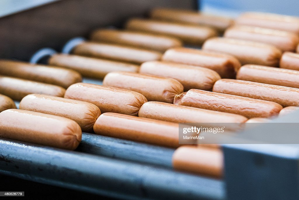 Closeup of sausage on the grill : Stock Photo