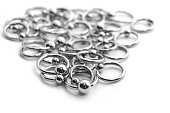 Many circulars for piercing on white background