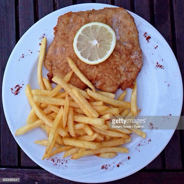 Close-up of Schnitzel in plate