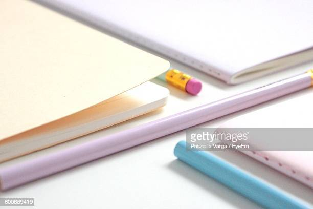 Close-Up Of School Supplies On Table