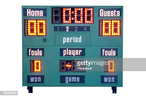 Close-up of scoreboard in a school gymnasium.