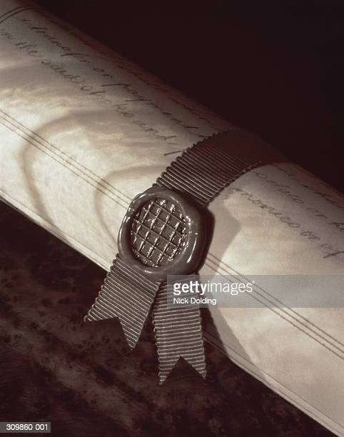 Close-up of scroll fastened with a wax seal
