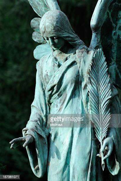Close-up of sculpture of a sad female angel