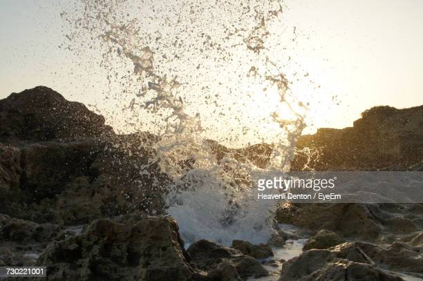Close-Up Of Sea Waves Splashing On Rocks