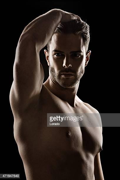 close-up of sensual muscled man