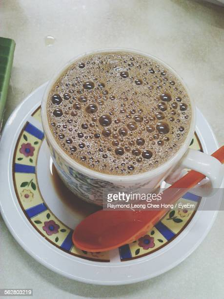 Close-Up Of Served Coffee On Table