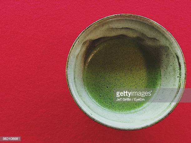 Close-Up Of Served Matcha Coffee On Table