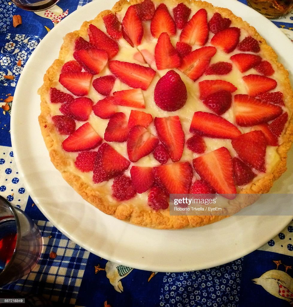 Close-Up Of Served Strawberry Tart In Plate