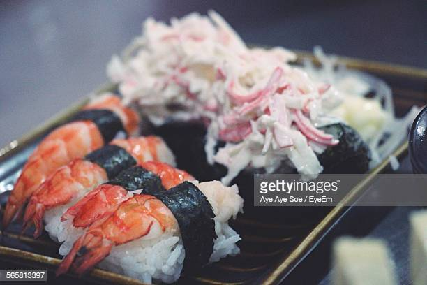 Close-Up Of Served Sushi In Plate