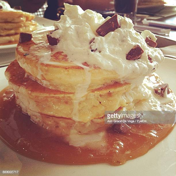 Close-Up Of Serving Stack Of Pancakes On Plate