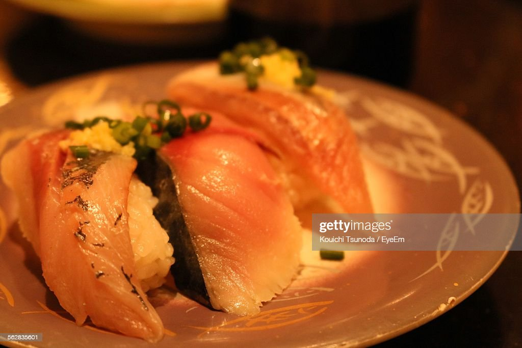 Close-Up Of Serving Sushi In Plate
