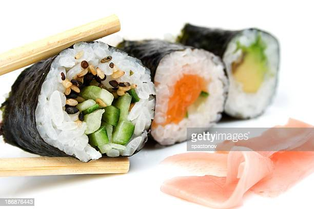 Close-up of several rolls of sushi