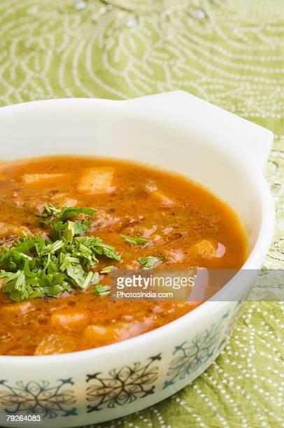 Close-up of shahi paneer in a bowl
