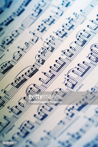 Close-up of sheet music : Foto de stock