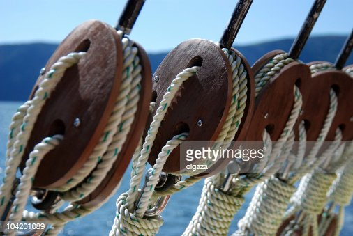 Close-up of ship rigging wires