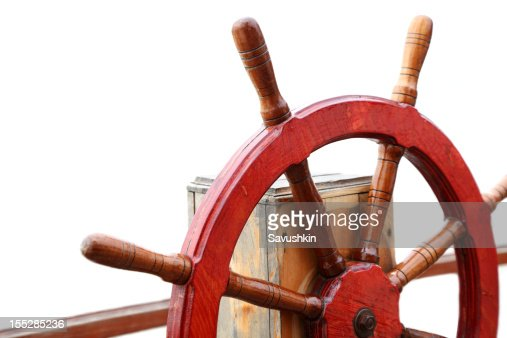 Close-up of ship's steering wheel used to control rudder