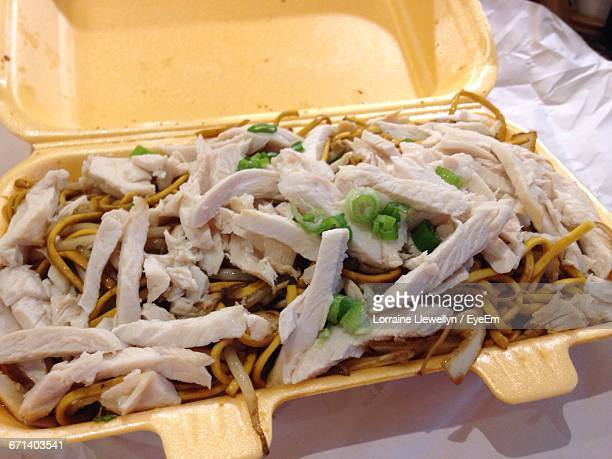 Close-Up Of Shredded Chicken With Noodles In Tiffin Box
