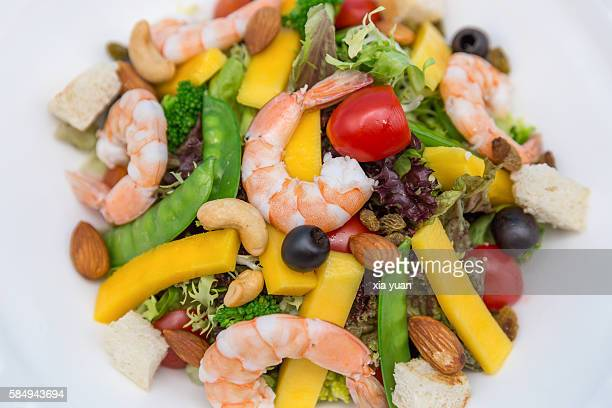 Close-up of shrimp and mixed vegetables salad