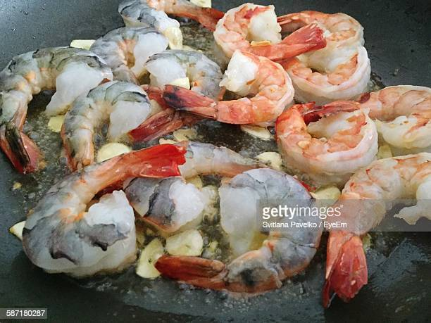 Close-Up Of Shrimps In Cooking Pan