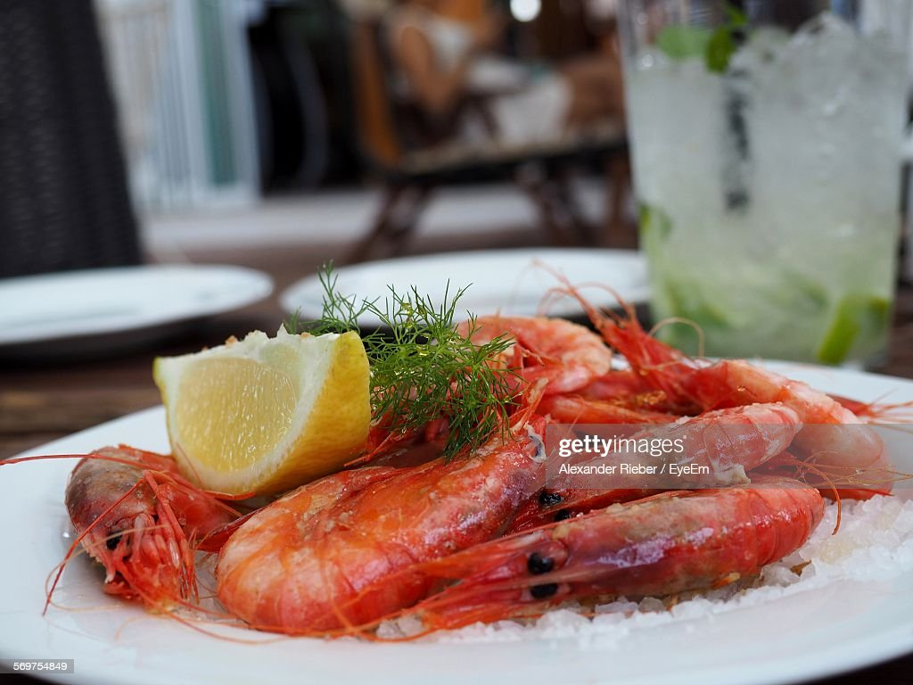 Close-Up Of Shrimps Scampi Served In Plate On Table