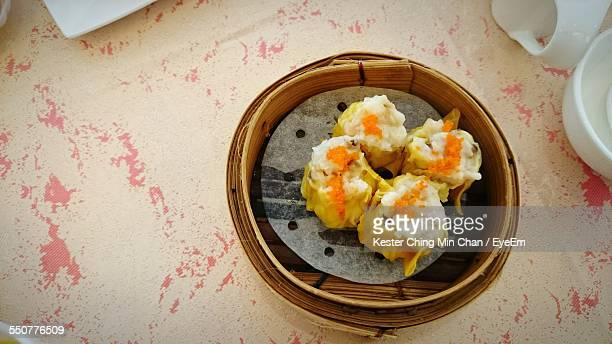 Close-Up Of Shumai In Basket