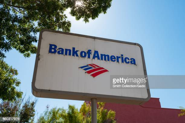 Closeup of sign with logo for the Bank of America branch in the Gourmet Ghetto neighborhood of Berkeley California October 6 2017