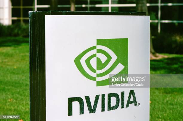 Closeup of signage with logo for computer graphics hardware manufacturer Nvidia at the company's Silicon Valley headquarters Santa Clara California...