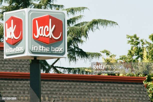 Closeup of signage with logo for Jack in the Box a regional fast food restaurant in the Silicon Valley Santa Clara California August 17 2017